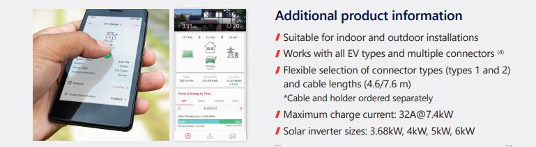 El sistema puede instalarse al exterior o en interior. Además es compatible con todos los vehículos eléctricos y con los diferentes conectores.