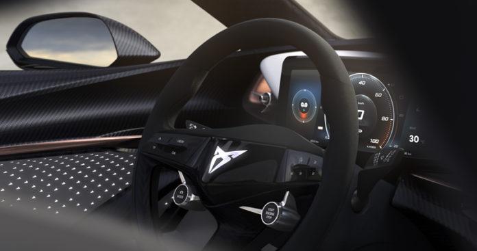 El interior del nuevo prototipo eléctrico de CUPRA expresa deportividad y elegancia, además de confort.