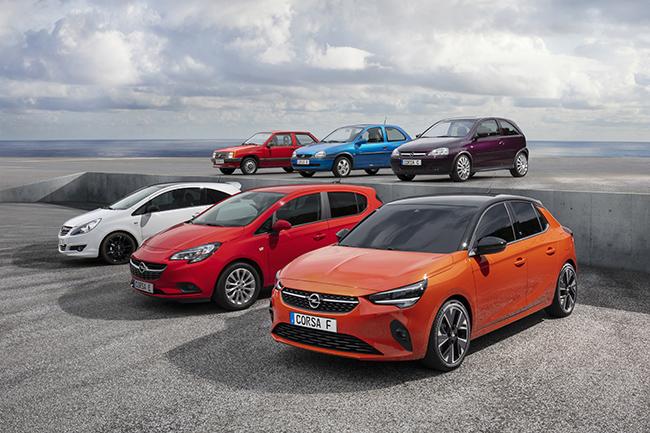 Las seis generaciones del Opel Corsa, incluida la versión eléctrica.