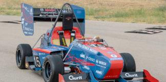 UPM 03E, el monoplaza eléctrico que los alumnos de la Universidad Politécnica de Madrid han desarrollado para la Formula Student 2019.