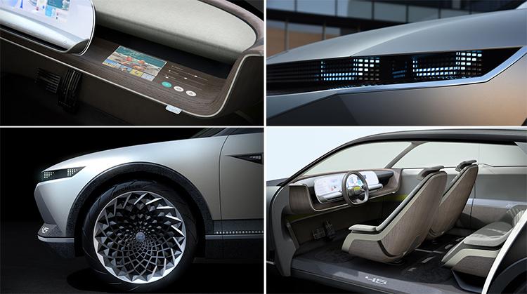 El 45 EV Concept muestra las nuevas pautas de diseño para el futuro de los vehículos eléctricos y autónomos de Hyundai.