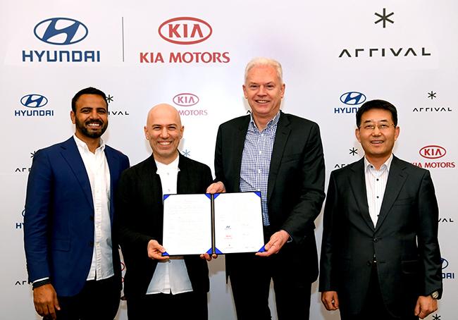 Acto de firma del acuerdo entre Hyundai y Kia y Arrival.