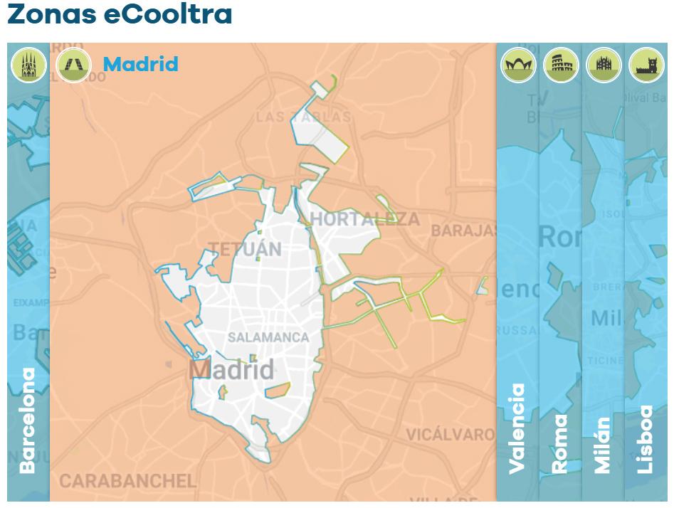 eCooltra ofrece su servicio de Motosharing en 6 ciudades europeas, entre ellas Madrid. El número de usuarios que utilizan su servicio ronda ya el millón.