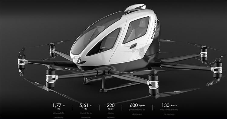 eHang 2016, el drone eléctrico y autónomo para logística y transporte de pasajeros.