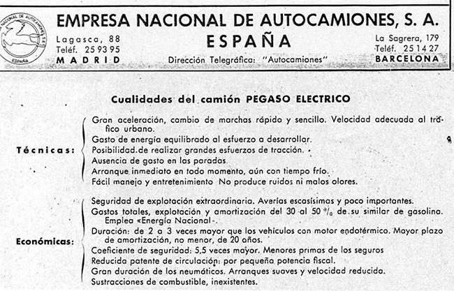 Cualidades que especificaba el manual del Pegaso Eléctrico. Foto: Pegasoesmicamion.