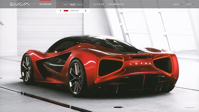 Red Atomic, uno de los llamativos colores del Lotus Evija.