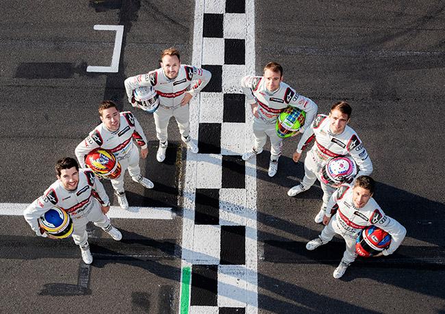 Mike Rockenfeller, Robin Frijns, René Rast, Jamie Green, Nico Müller, Loïc Duval. Pilotos de Audi de DTM.