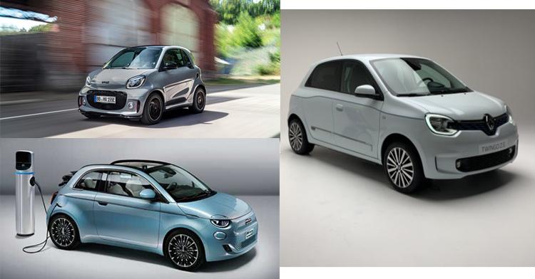 Coches pequeños eléctricos: Smart, Renault Twingo y Fiat 500.