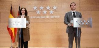 Isabel Díaz Ayuso, presidenta de la Comunidad de Madrid, e Ignacio Aguado, vicepresidente y portavoz, durante la presentación del Plan de Reactivación.