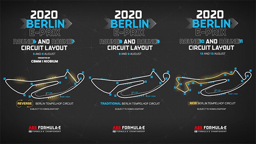 Las tres configuraciones del circuito de Tempelhof (Berlín).