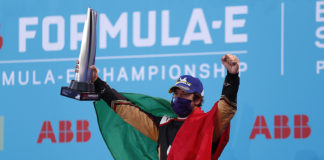 Antonio Felix da Costa (PRT), DS Techeetah en el podio tras ganar la sexta carrera de la Fórmula E.