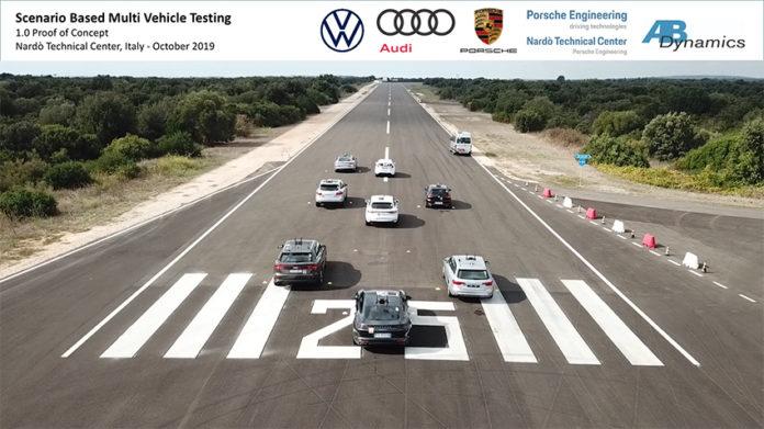 AB Dynamics, junto a Volkswagen, Audi y Porsche, testearon la sincronización de 8 vehículos automatizados.