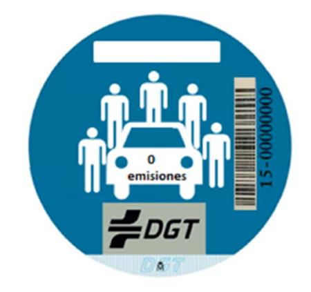 Etiqueta de la DGT para los vehículos de carsharing.