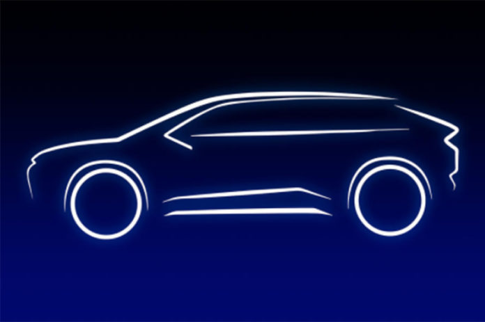 Teaser del nuevo SUV eléctrico de Toyota.
