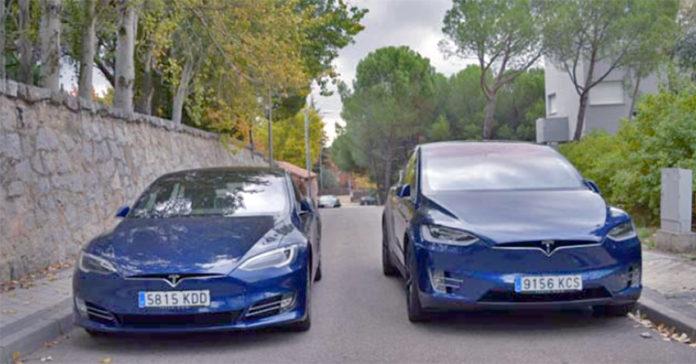 Los Model S y Model X de nuestra prueba de 2017.