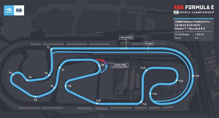 El Autódromo Miguel E. Abed, a las afueras de Puebla, adaptado para acoger las carreras 8 y 9 de la Fórmula E para esta séptima temporada.